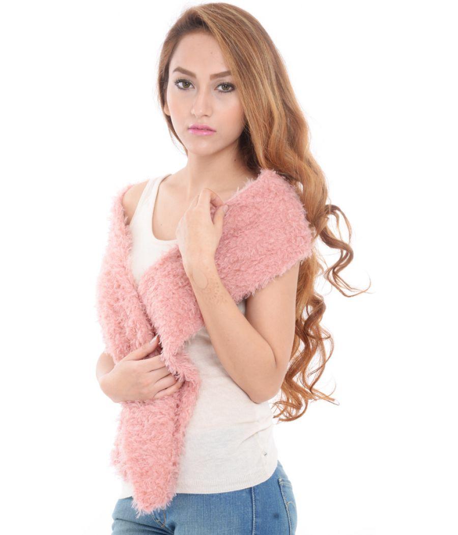 Estance Faux Fur Light Pink/Peach Stole/Scarf