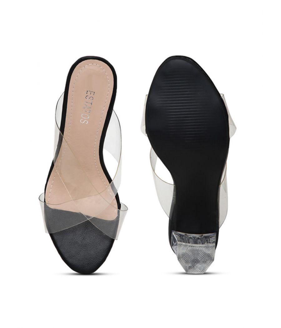 Estatos Black Open Toe Cross Strap Party Wear Heel Sandals