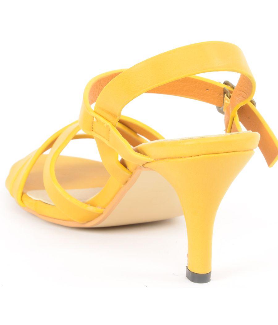 Estatos Matte Leather Strappy Heeled Mustard Sandals