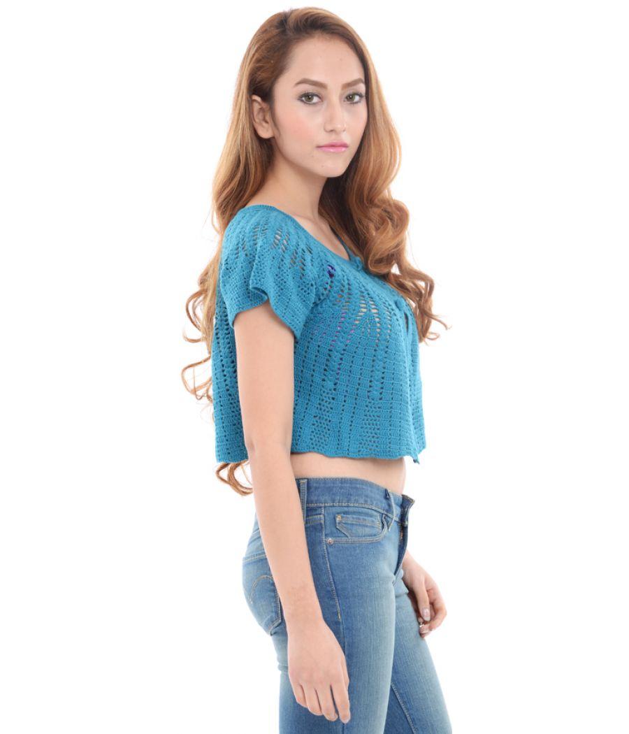 Estance Crochet Knitted Blue Woolen Crop Top