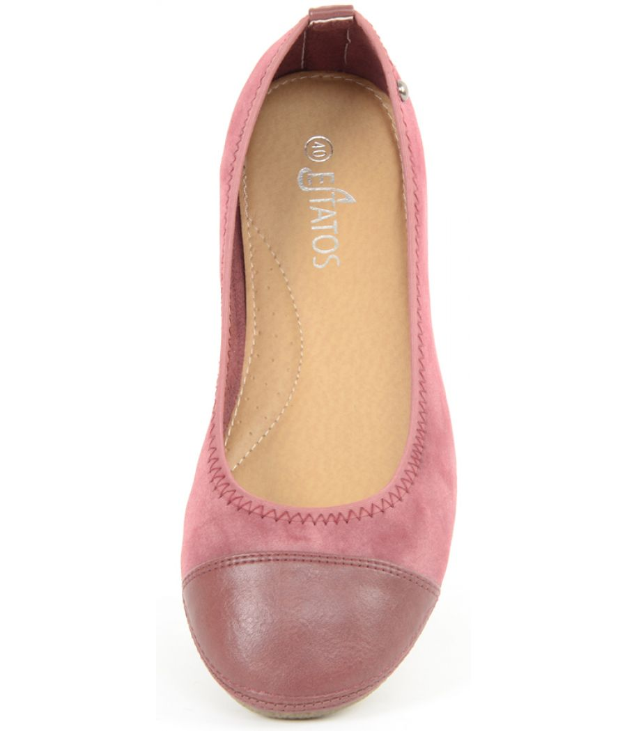 Estatos Faux Leather Walk cut tip design flat Foxy Pink bellies/shoes