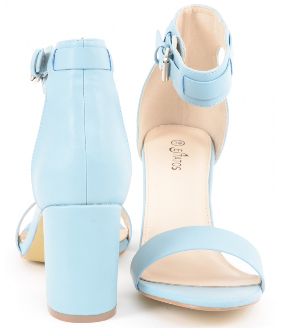 Estatos Matte Leather Ankle Strap Block High Heeled Light Blue Sandals