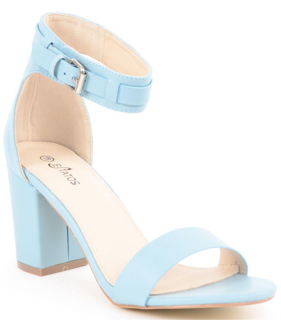 Estatos Matte Leather Ankle Strap Block High Heeled Light Blue Sandals
