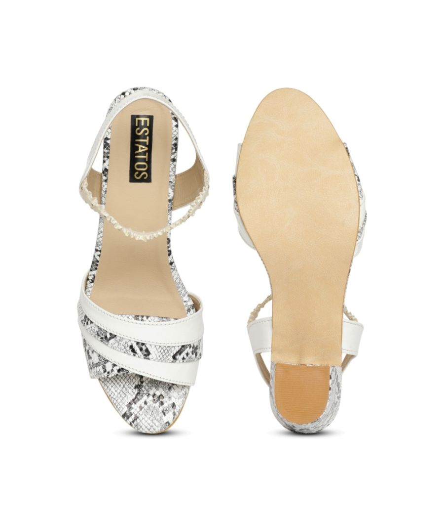 Estatos White Comfortable Block Heel Buckle Closure Sandals  for Women