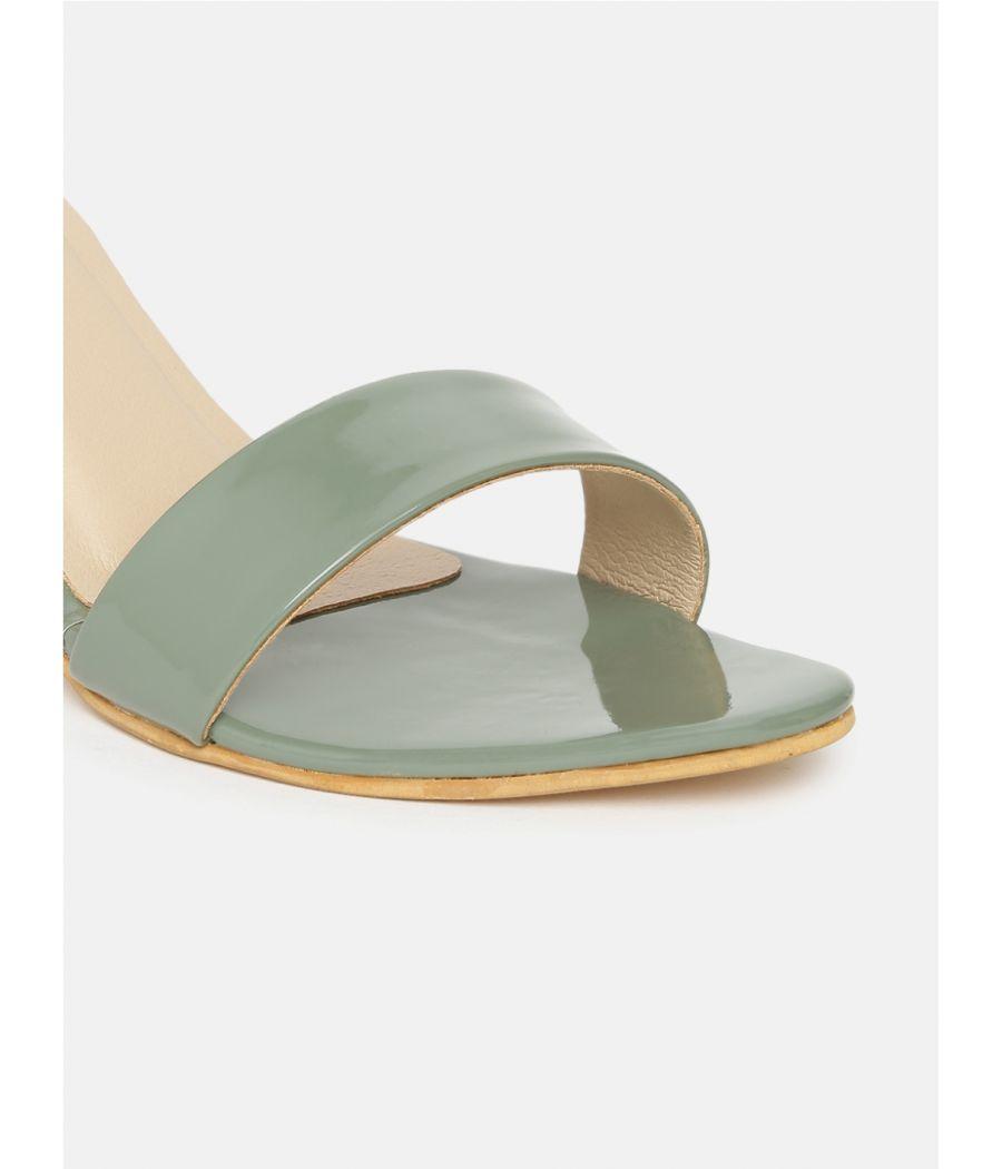 Estatos Leather Ankle Strap Block High Heeled Green Sandals