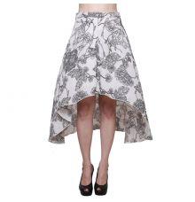Estance Crepe Floral Printed Black & White Midi Skirt