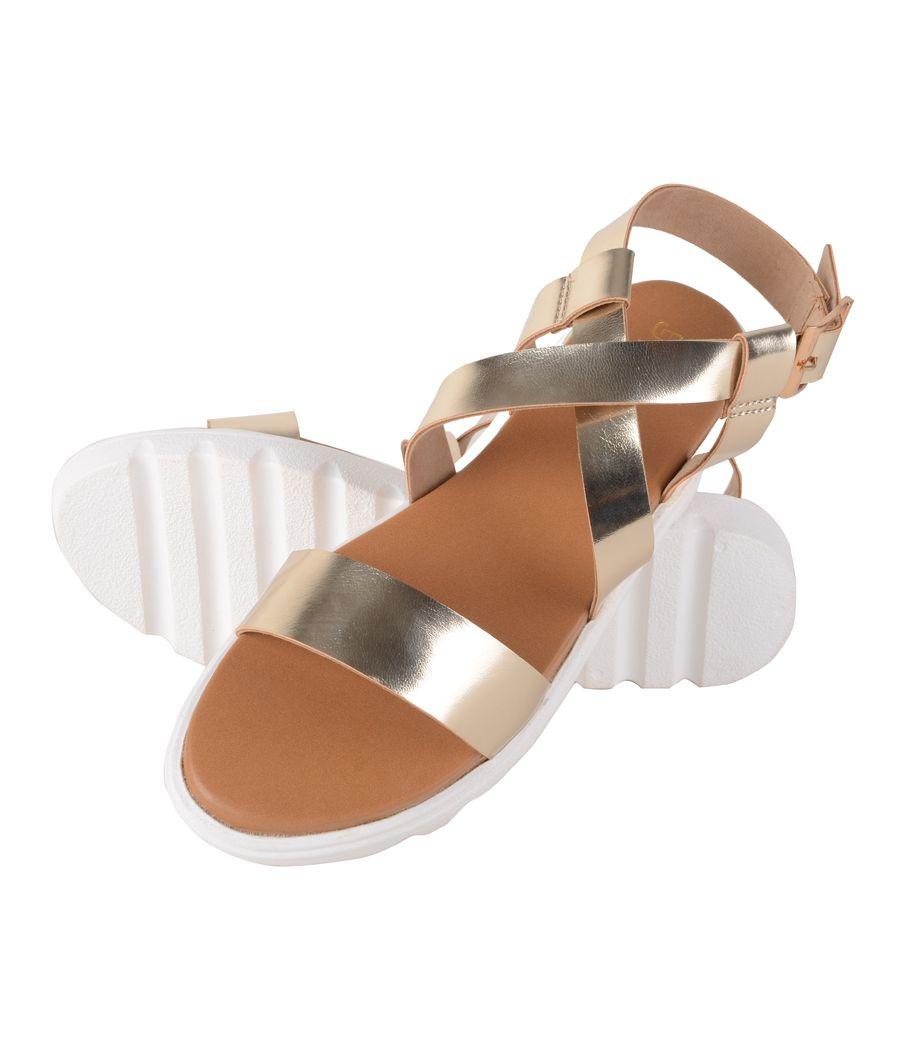 Estatos Faux Leather Open Toe Cross Strap Buckle Closure Mesh Style White Platform Heel Golden Sandals for Women