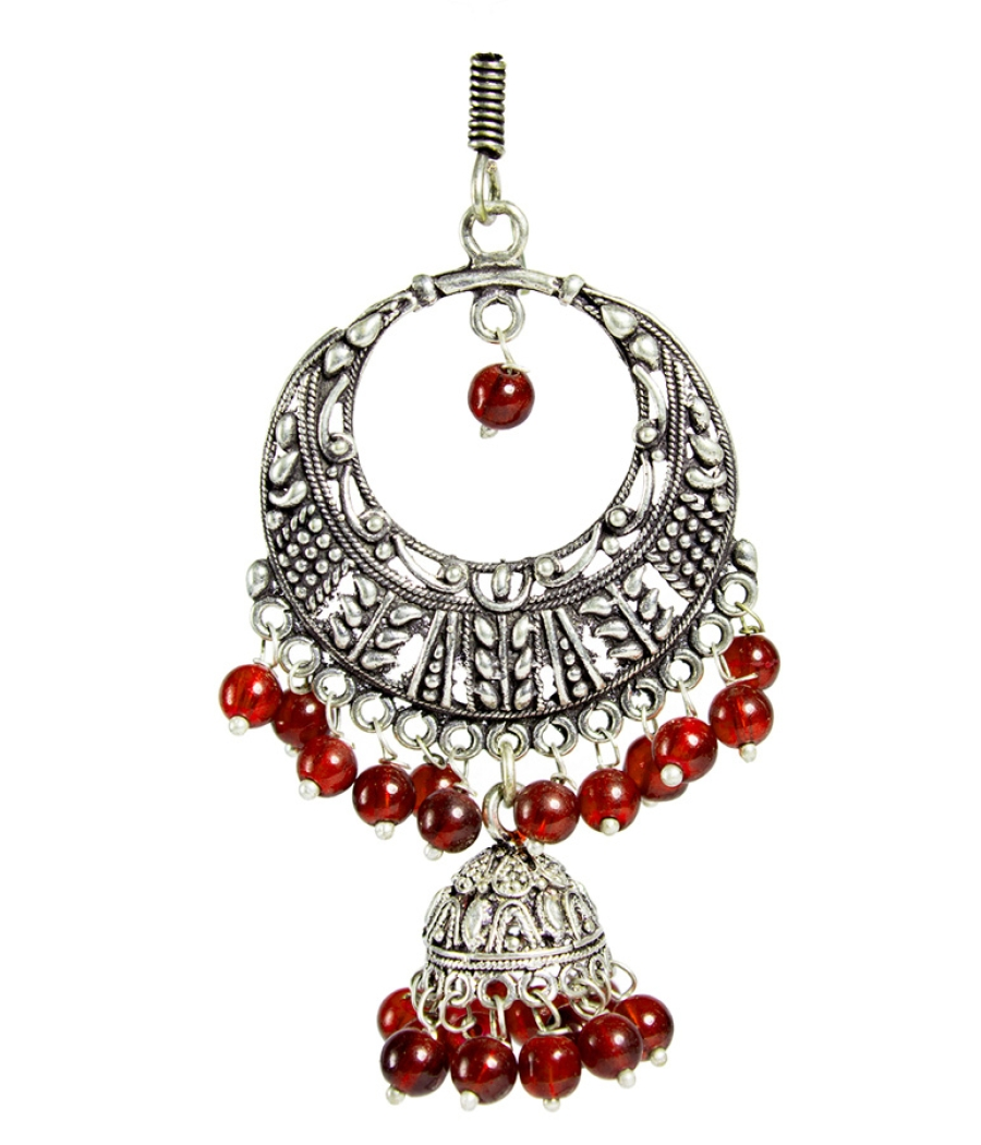 Silver Jhumki with Red Pearls
