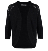 Only Wool Solid Black Cardigan