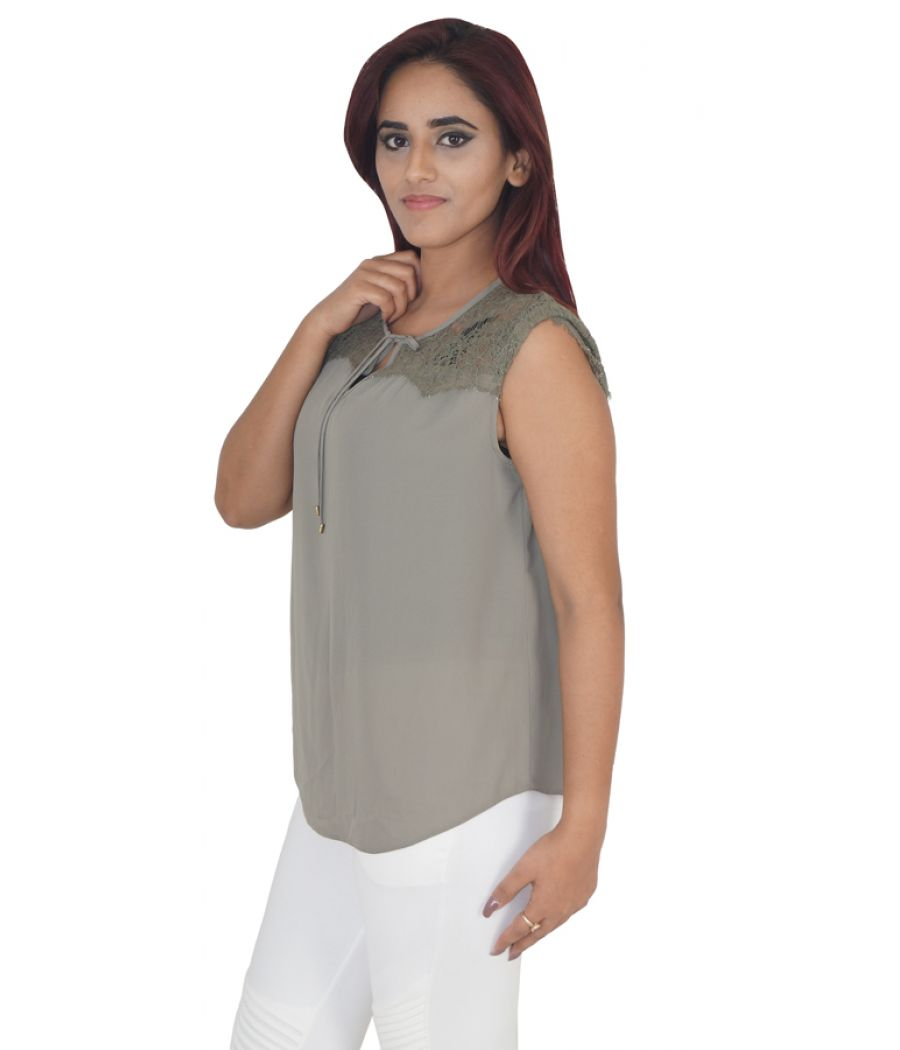 Dorothy Perkins Crepe Plain Solid Earth Coloured Half Sleeved Casual Top