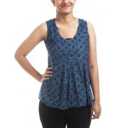 Fabindia Cotton Geometric Print Navy Blue & Blue Sleeveless U Neck Regular Pleated Casual Top