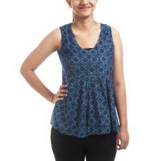 Fabindia Cotton Geometric Print Navy Blue & Blue Sleeveless U Neck Regular Pleated Casual Top