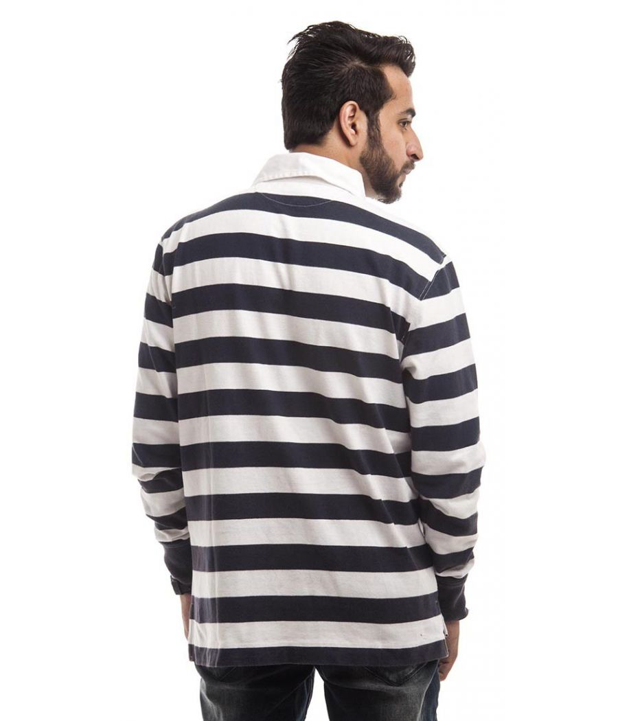 Blue Harbour Polycotton Navy Blue & White Plain Full Sleeves Casual T-shirt
