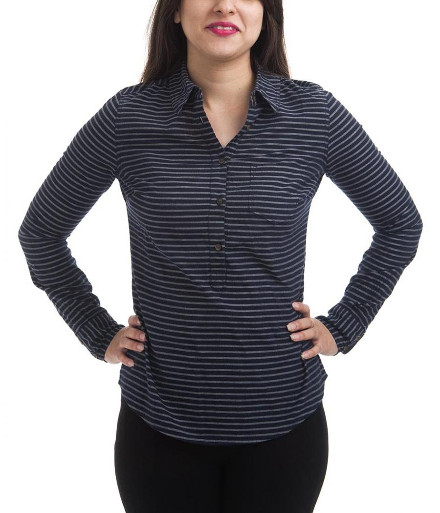 Vero Moda Hosiery Striped Navy Blue & Grey Full Sleeves Button Closure Shirt