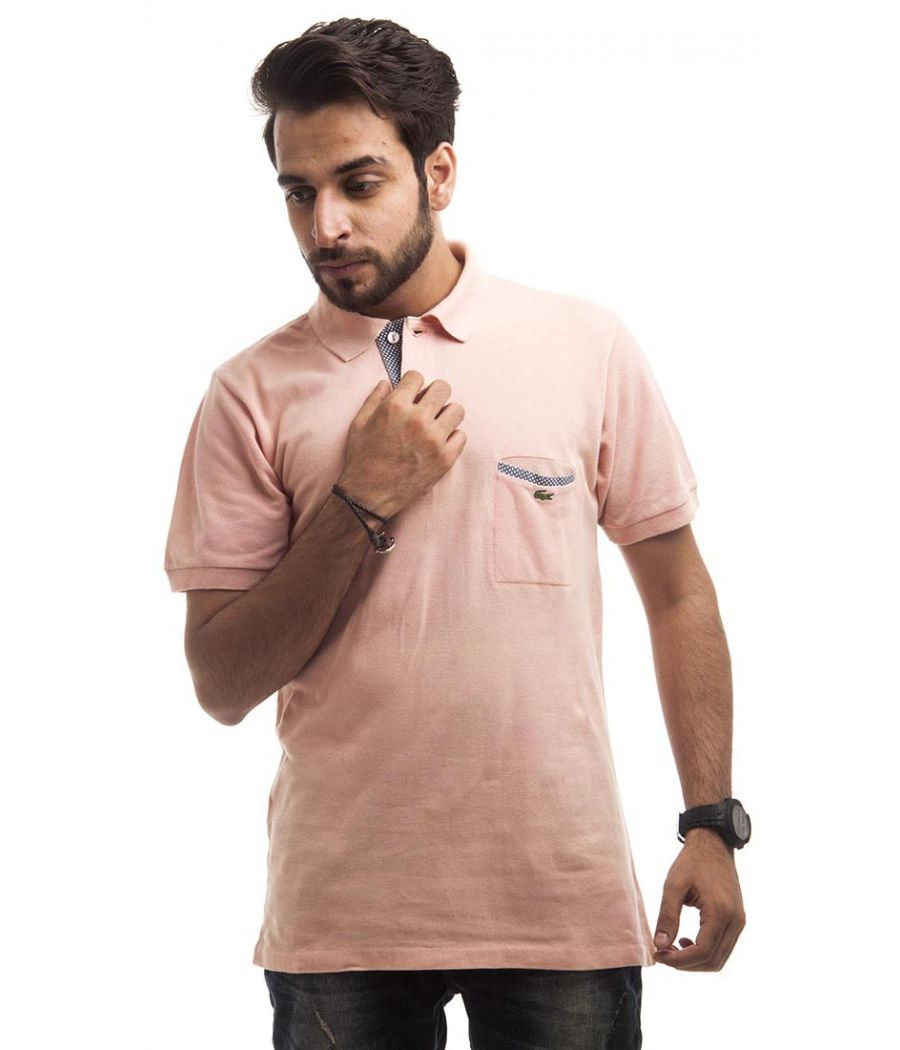 Lacoste Polycotton Plain Peach Half Sleeved Collared Neck Casual T-shirt