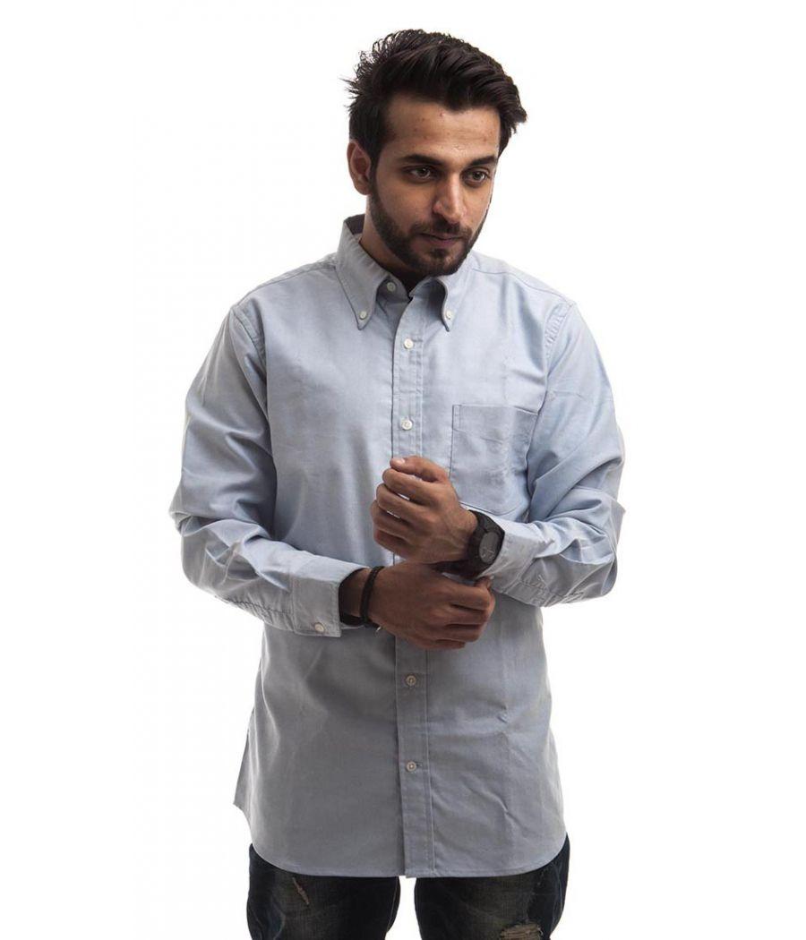 Dressman Cotton Plain Blue Full Sleeved Button Closure Formal Shirt