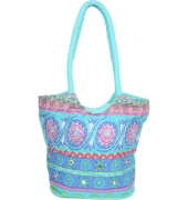 Multi/Blue Colour Traditional Tote Bag