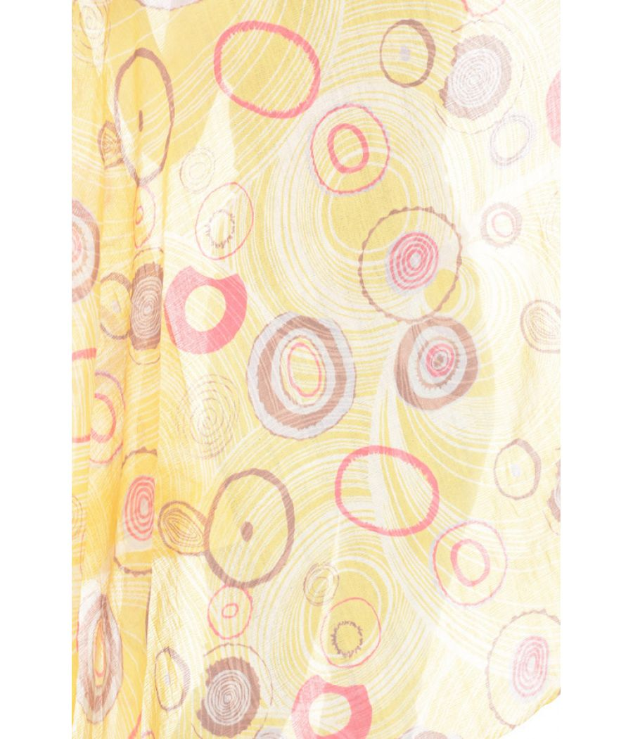 Woollen/Silk Circle Printed Fringed Yellow Stole