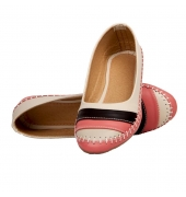 KC Synthetic Leather Peach & Beige Broad Toe Flat Bellies