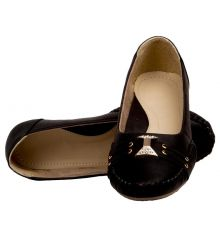 GMF Synthetic Leather Black Broad Toe Flat Bellies