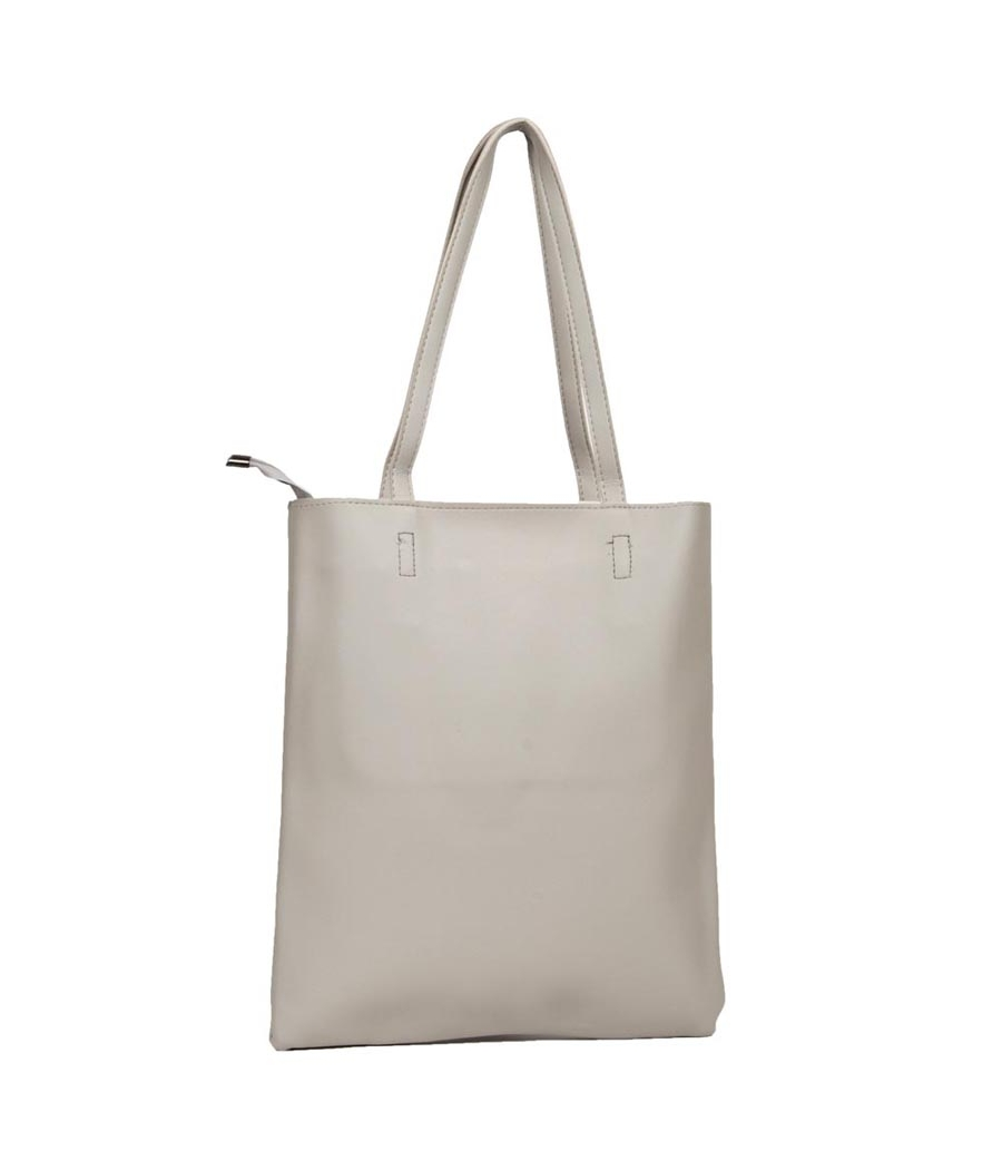 Envie Faux Leather Solid Grey Zipper Closure Casual Tote Bag