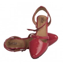 MCS Synthetic Leather Red Broad Toe Buckle Closure Block Heel Stilettos