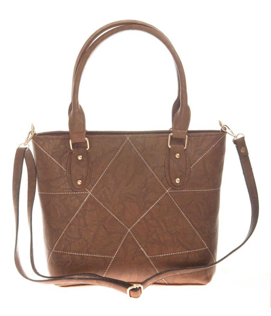 Aliado Faux Leather Solid Coffee Brown Zipper Closure Tote Bag for Women