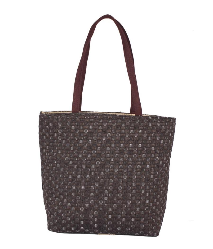 Aliado Jute Black and Brown  Coloured Zipper Closure Bag