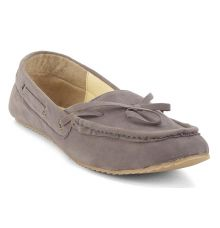 Estatos Synthetic Leather Broad Toe Comfortable Grey Loafers     for Women
