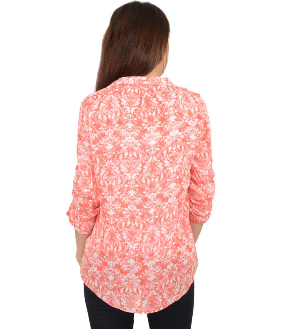 Zara Orange Printed Blouse
