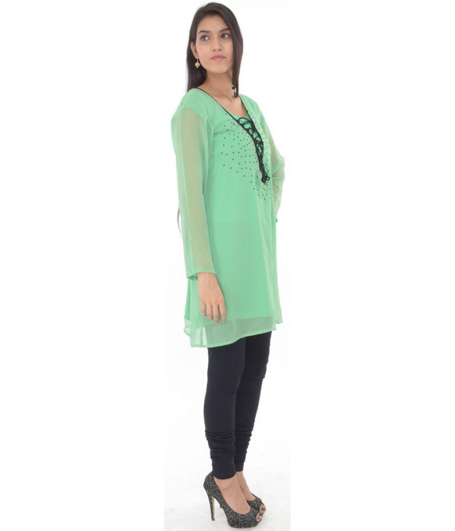 Etashee Certified Green Georgette Kurti