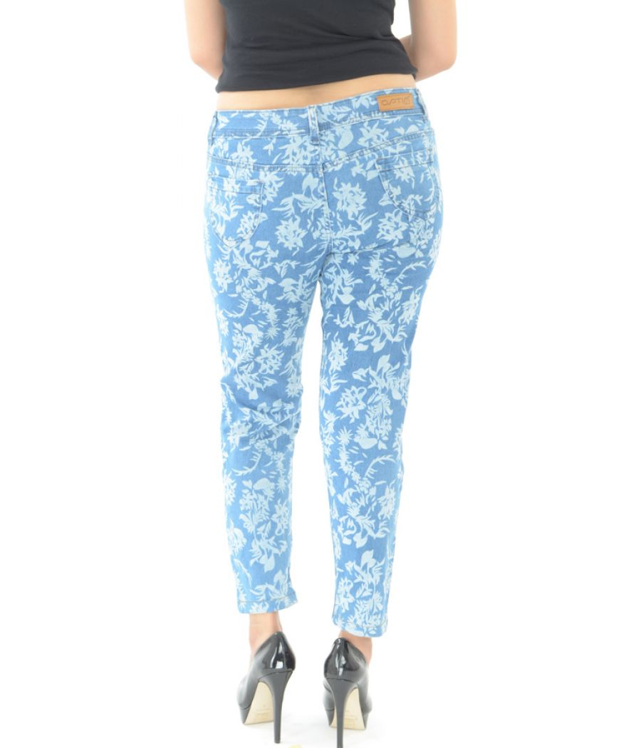 Optim Blue Printed Jeans