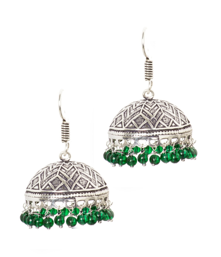 Danglers with Green Pearls