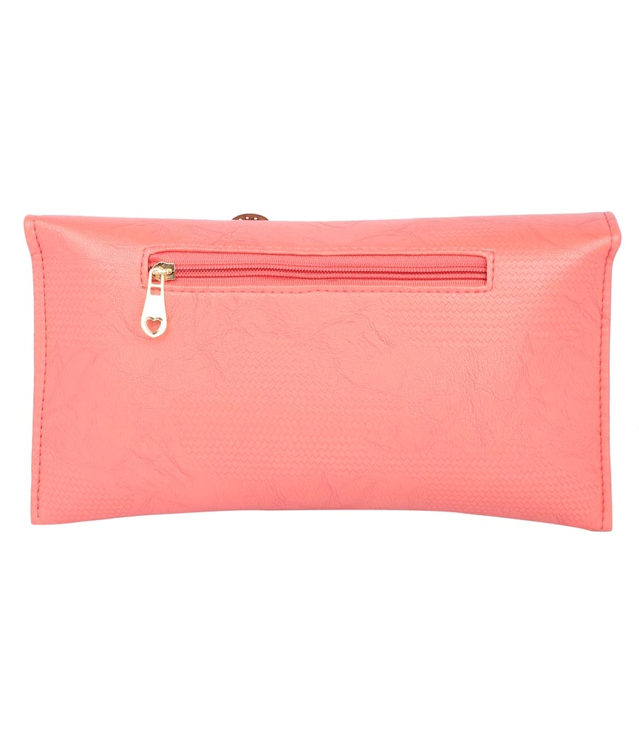 Envie Faux Leather Embellished Pink Magnetic Snap  Closure Crossbody Bag