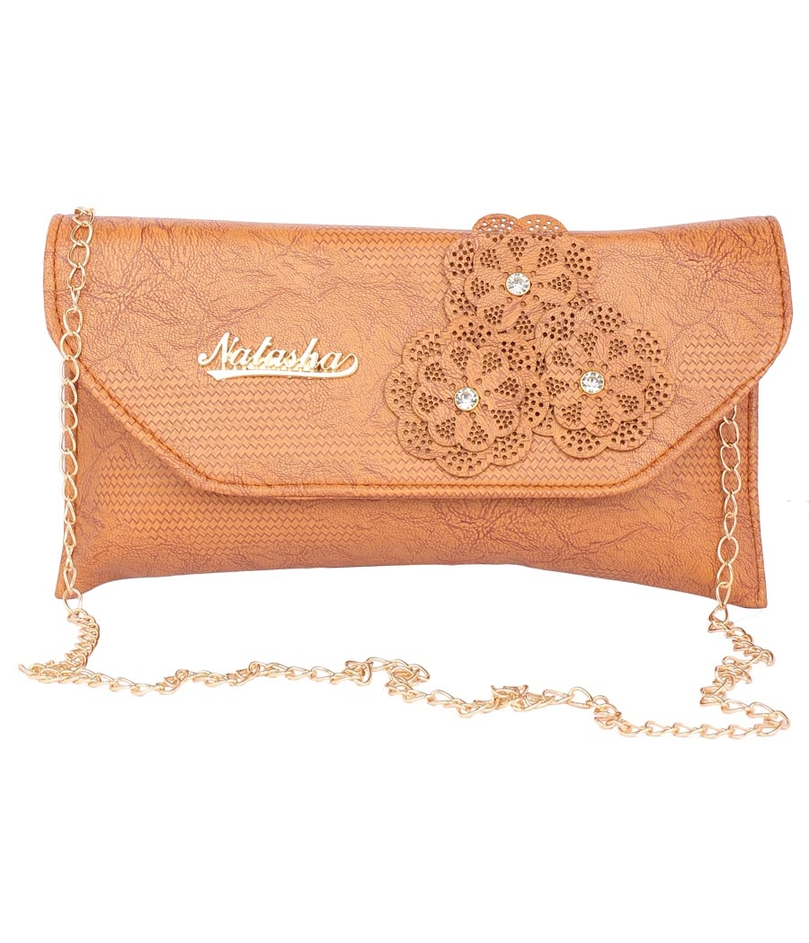 Envie Faux Leather Embellished Mustard Magnetic Snap  Closure Crossbody Bag