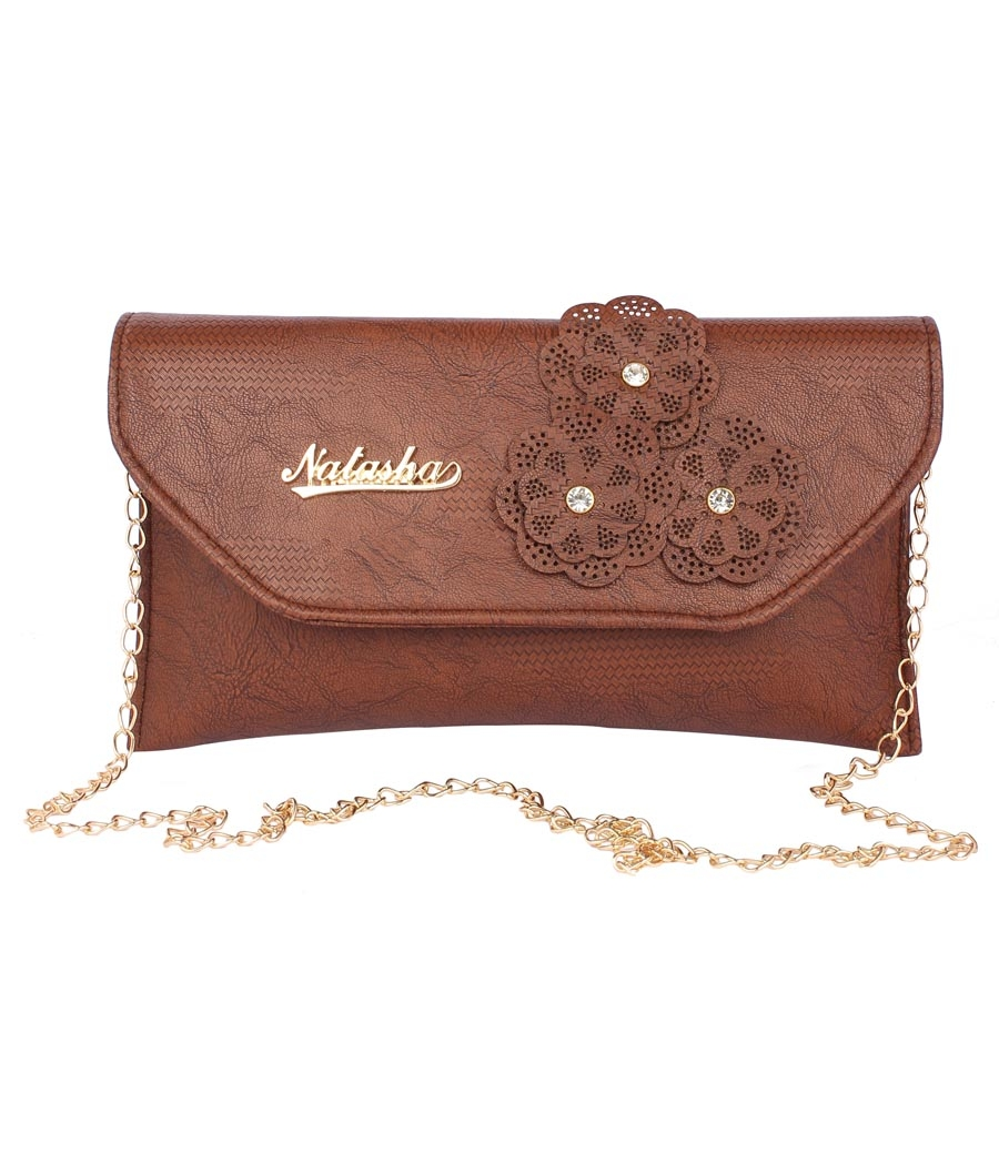 Envie Faux Leather Embellished Brown Magnetic Snap  Closure Crossbody Bag