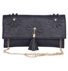 Envie Faux Leather Black  Coloured Magnetic Snap Sling Bag