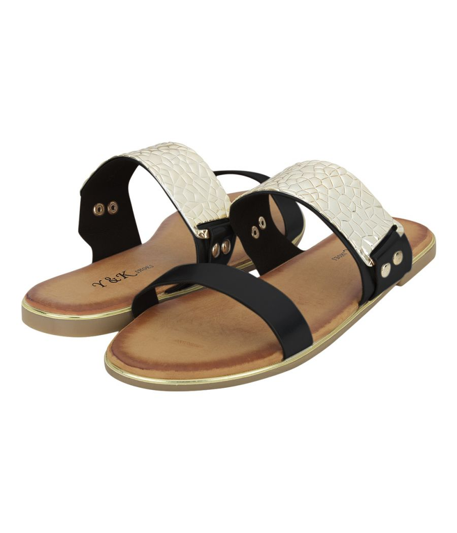 Estatos Shiny Leather Open Toe Twin Strap Black Party Wear Comfortable Flats for Women