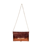 Envie Faux Leather Pink & Bronze Fold Over Magnetic Snap Sequined Sling Bag for Women