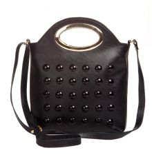 Envie Faux Leather Black Coloured Zipper Closure Embellished   Sling Bag