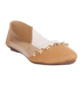 MCS Synthetic Leather Brown Broad Toe Casual Flats