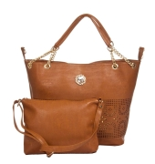 Aliado Faux Leather Solid Bronze Zipper Closure Tote Bag