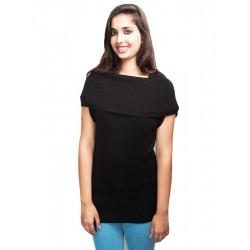 H&M Black Folded Neck Sweater