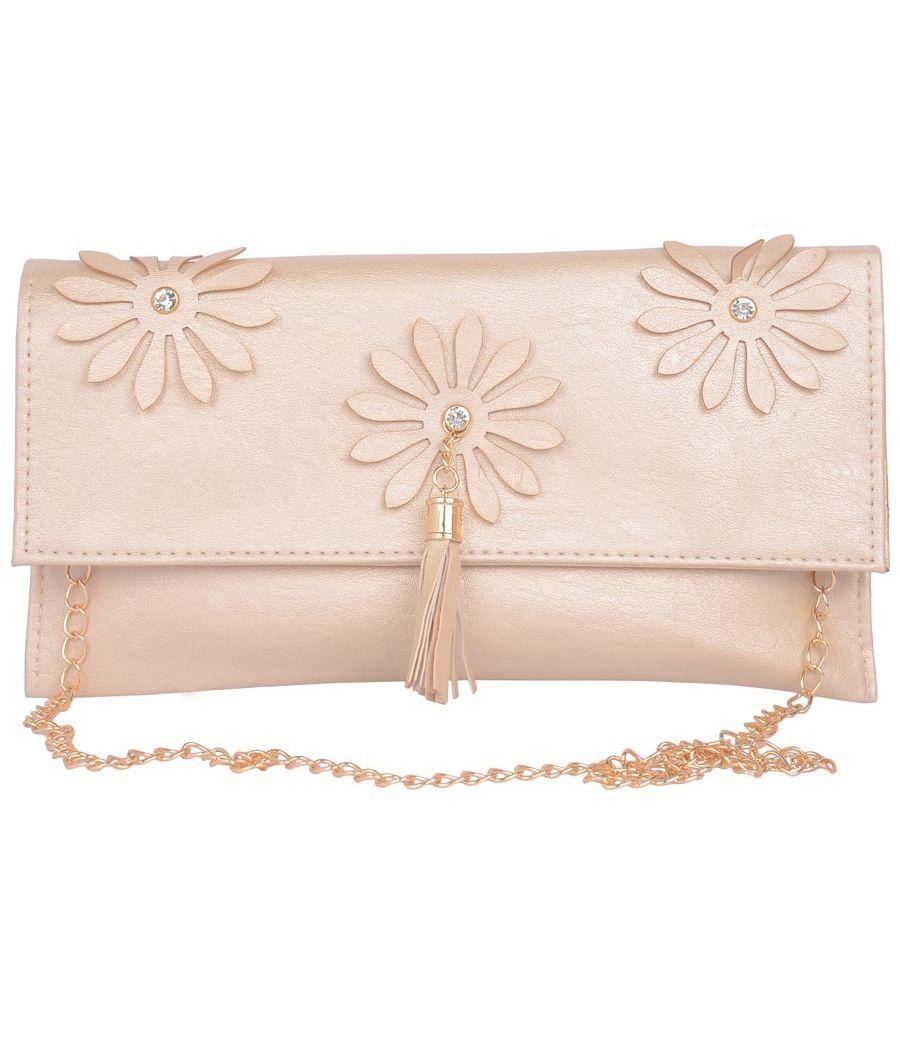 Envie Faux Leather Beige  Coloured Magnetic Snap Sling Bag