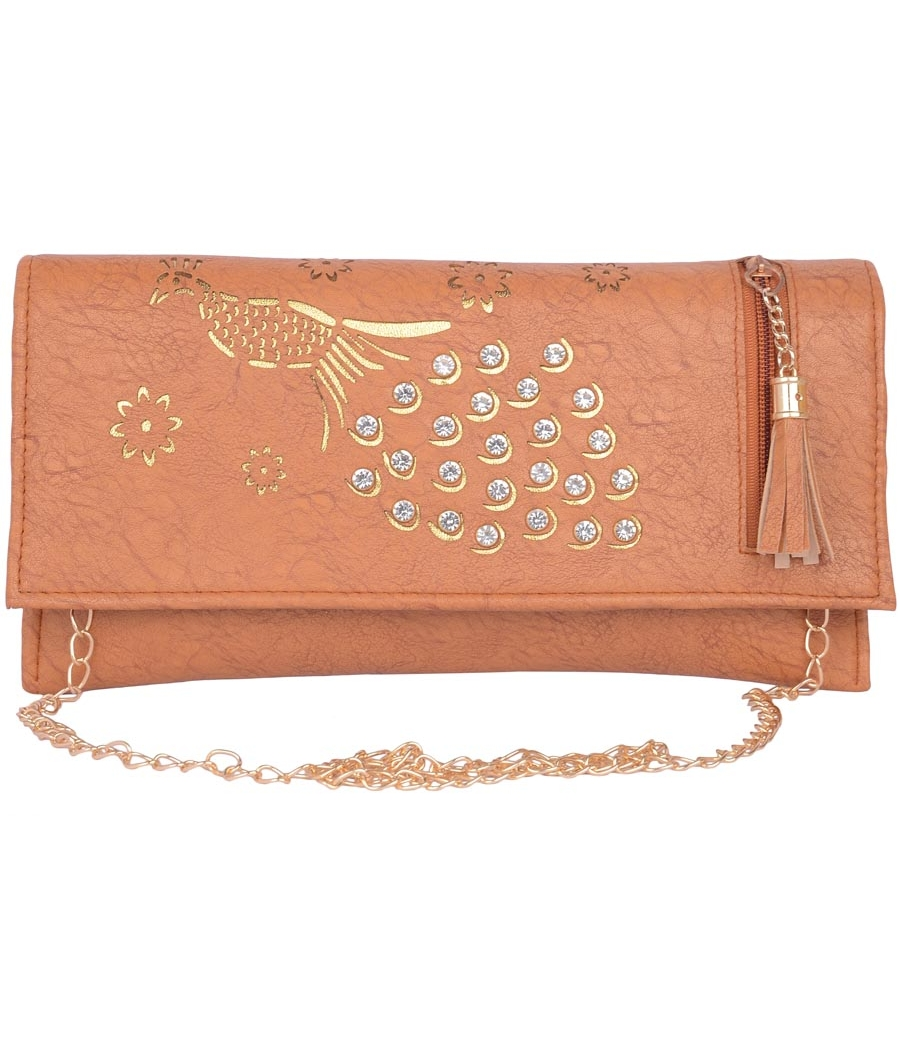 Envie Faux Leather Brown Coloured Magnetic Snap Sling Bag