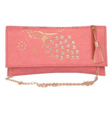 Envie Faux Leather Pink Coloured Magnetic Snap Sling Bag