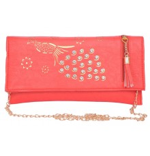 Envie Faux Leather Red Coloured Magnetic Snap Sling Bag