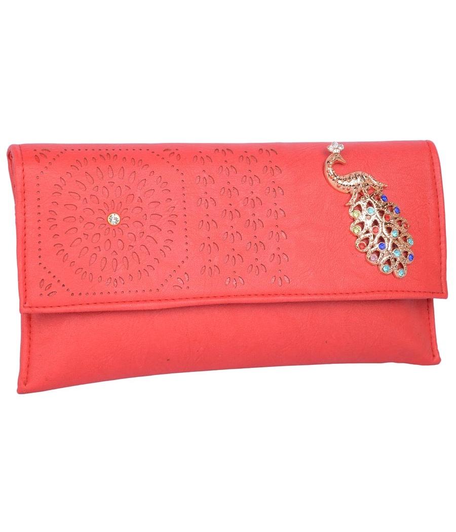 Envie Faux Leather Rose Coloured Magnetic Snap Sling Bag