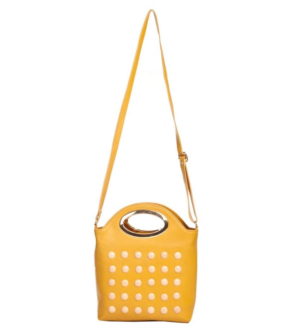 Envie Faux Leather Mustard Coloured Embellished Zipper Closure   Sling Bag
