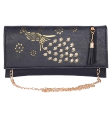 Envie Faux Leather Embellished  Black Magnetic Snap Closure Crossbody Bag
